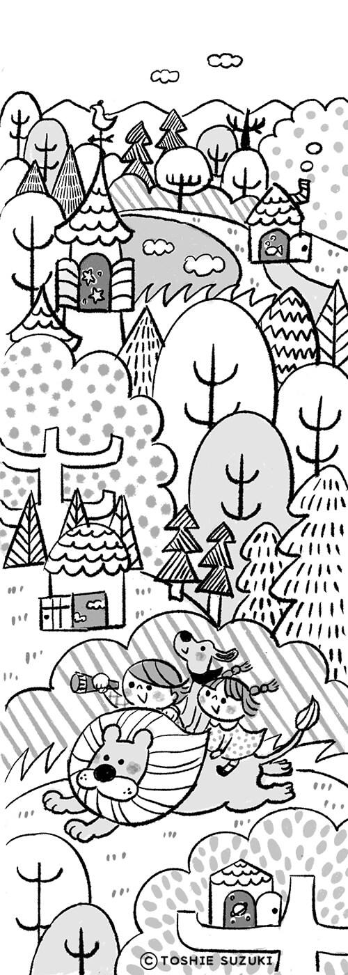 愛知県教育振興会「児童文学賞の作品募集チラシ」のイラスト