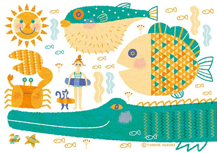 「海の生き物とねこと女の子」のイラスト